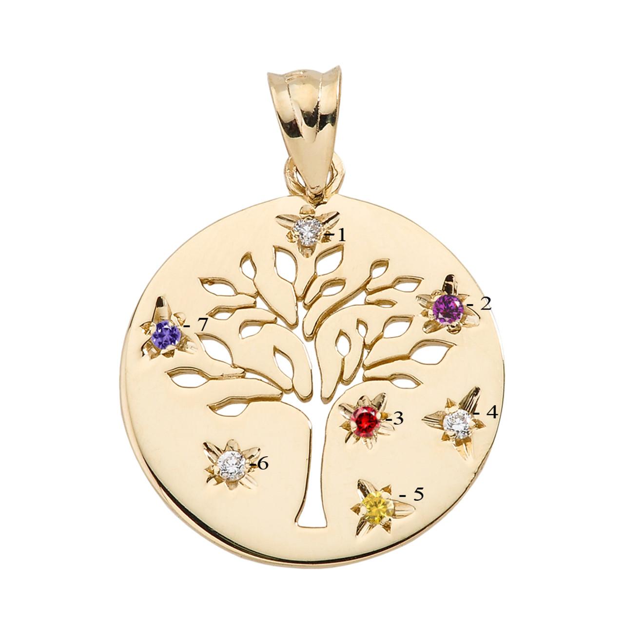 14k yellow gold seven cz birthstone family tree pendant yellow gold tree of life family tree disc pendant with birthstones aloadofball Gallery