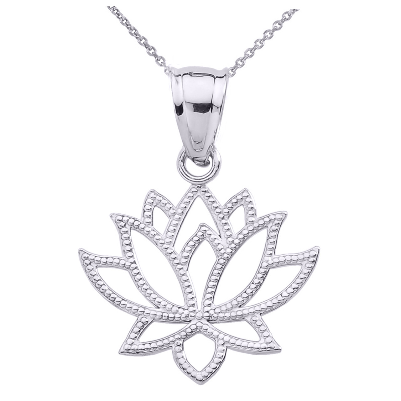 White gold lotus flower pendant necklace izmirmasajfo