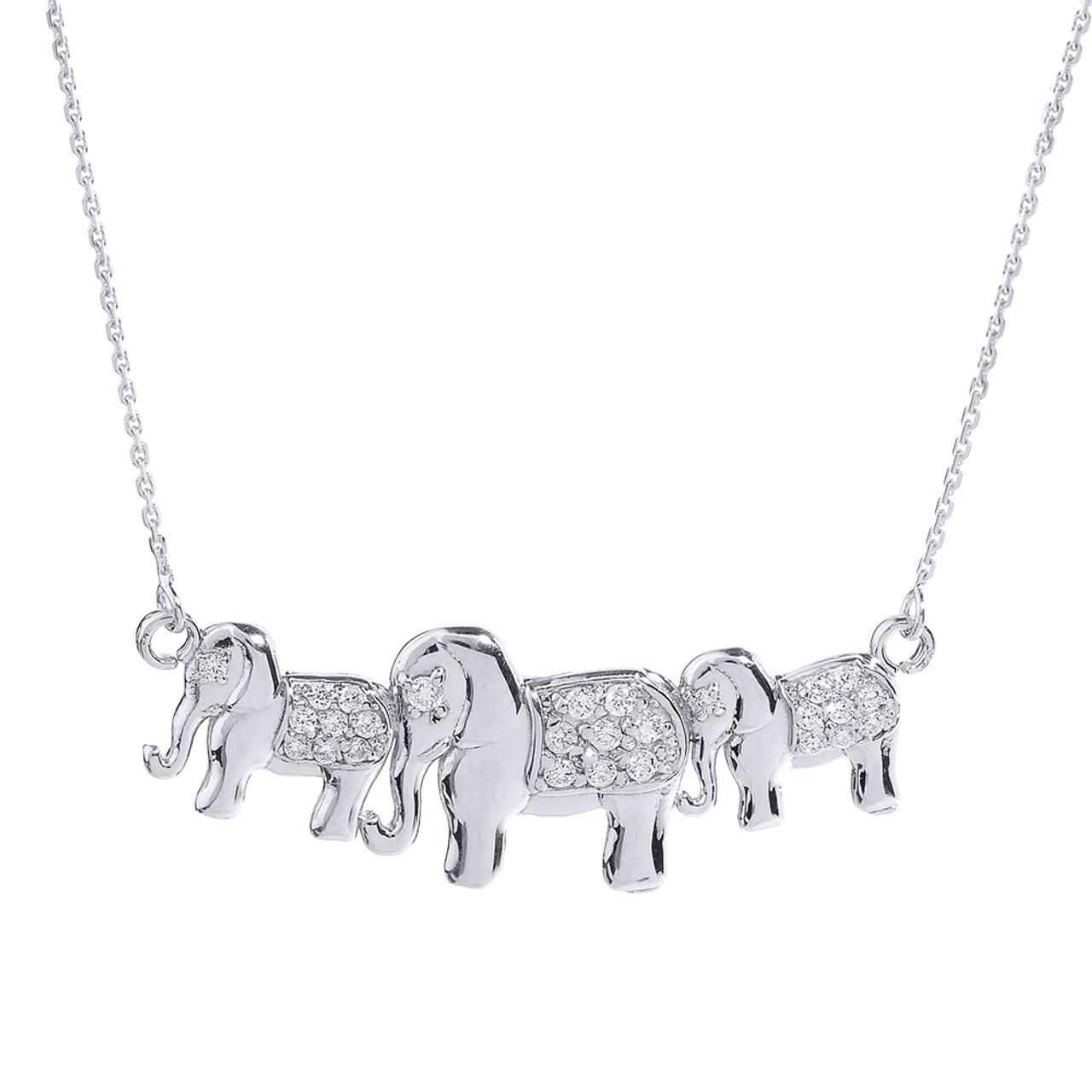 White gold diamonds studded three elephant pendant necklace aloadofball Choice Image