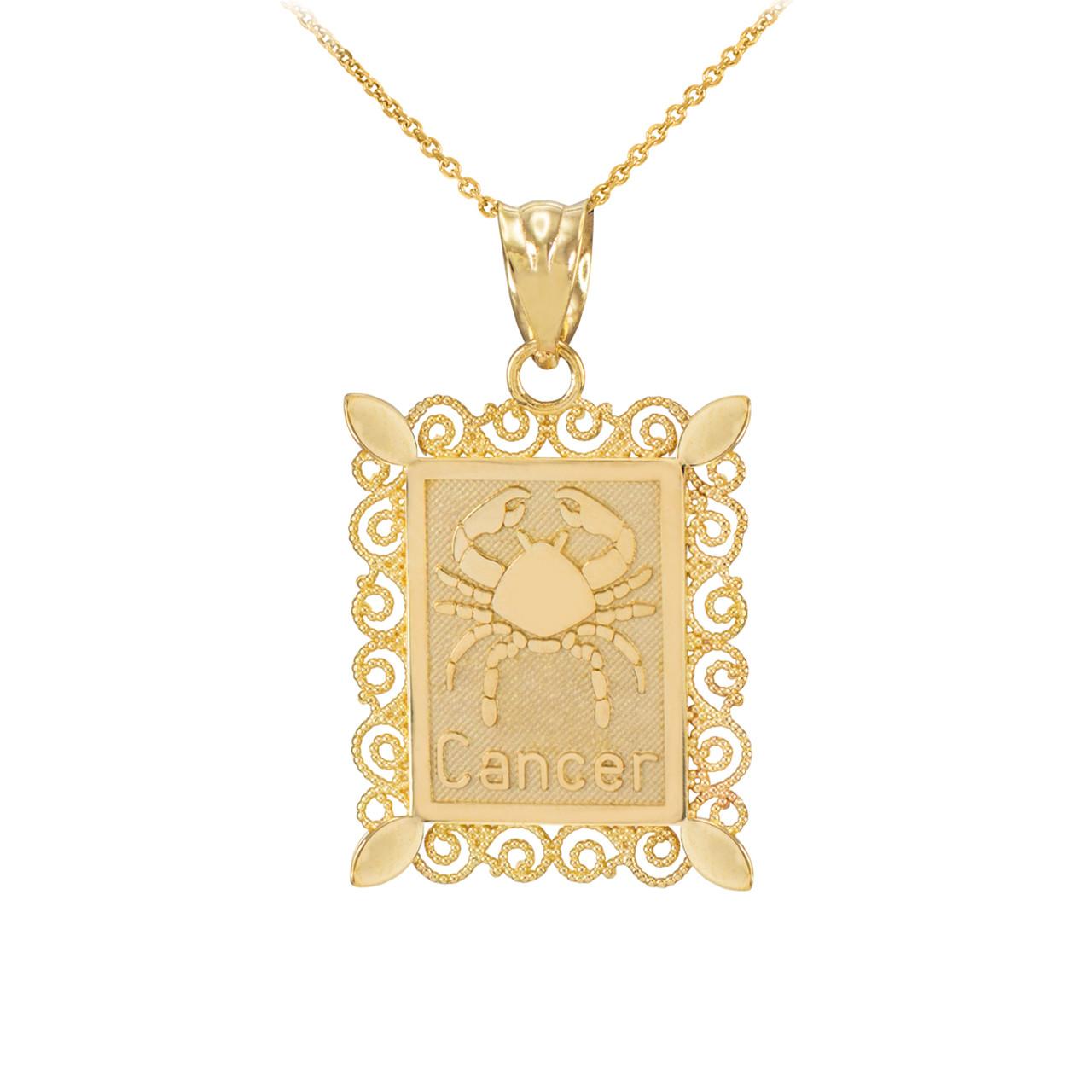 Gold cancer zodiac sign filigree pendant necklace zodiac sign pendants gold cancer zodiac sign filigree pendant necklace aloadofball Choice Image