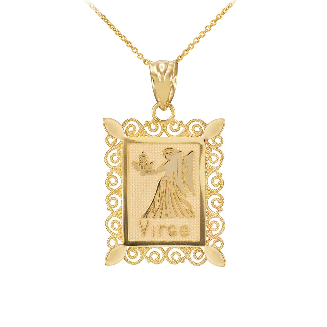 Virgo zodiac sign filigree square pendant necklace gold virgo zodiac sign filigree square pendant necklace aloadofball Images