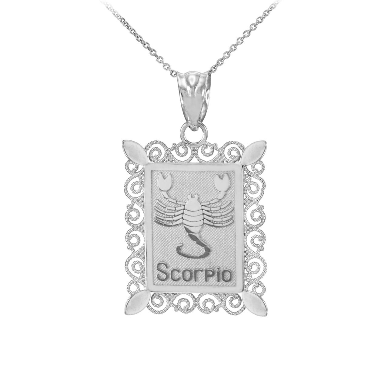 Gold scorpio zodiac sign filigree square pendant necklace white gold scorpio zodiac sign filigree square pendant necklace aloadofball Image collections