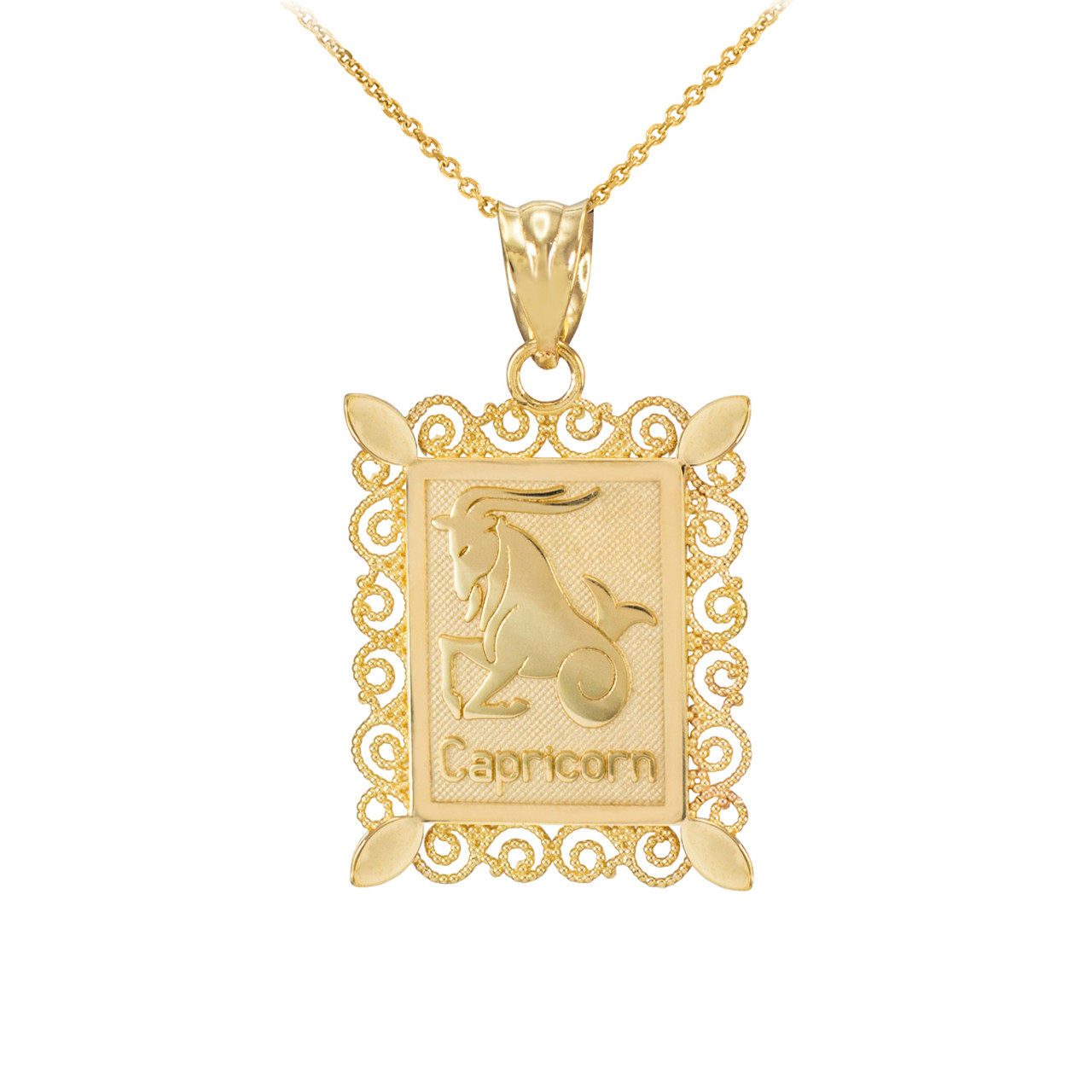 Gold capricorn zodiac sign filigree square pendant necklace mozeypictures Image collections