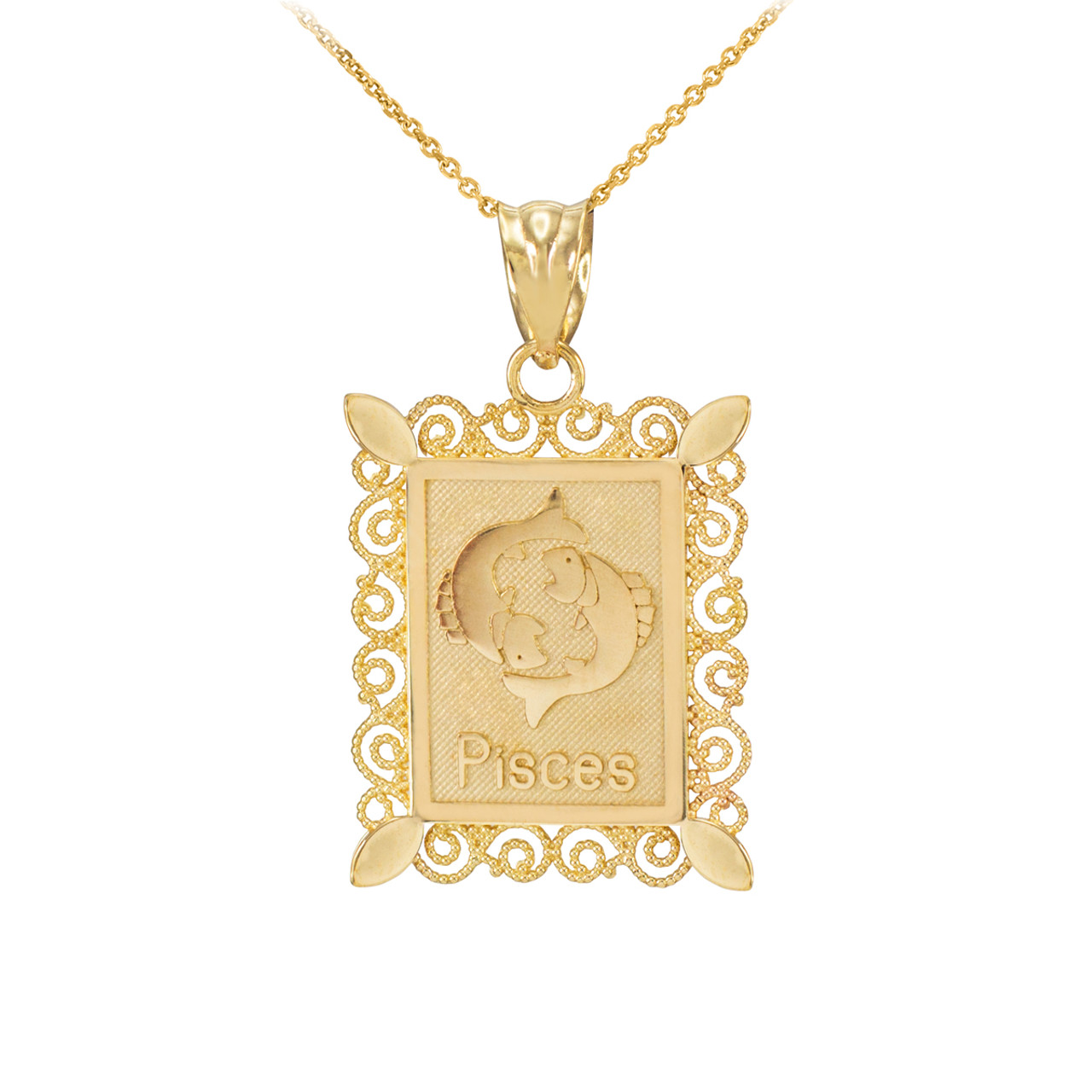 Polished gold rectangular pisces zodiac sign pendant gold pisces zodiac sign filigree square pendant necklace mozeypictures Choice Image
