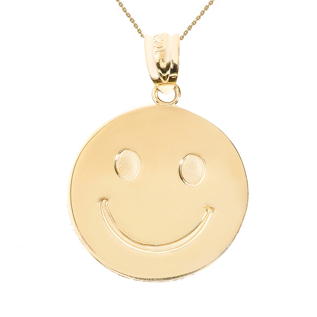 Yellow gold smiley face disc pendant necklace aloadofball