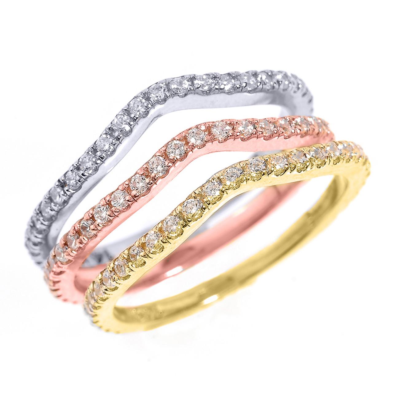 14k Tri Color Gold Chevron Diamond Stackable 3 Piece Wedding Ring Set