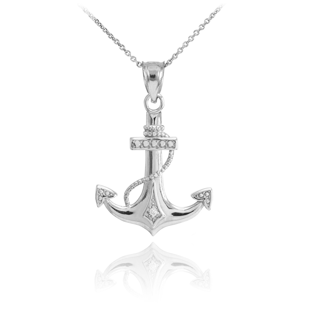 White gold anchor pendant necklace white gold diamond anchor pendant necklace aloadofball Images