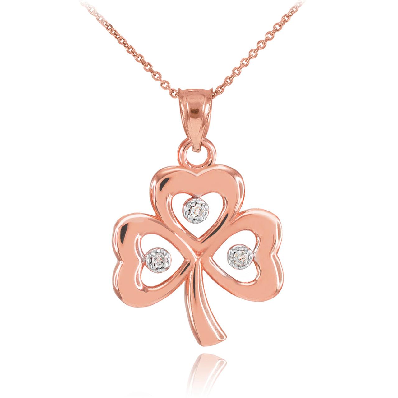 Rose gold 3 leaf diamond clover pendant necklace aloadofball Image collections