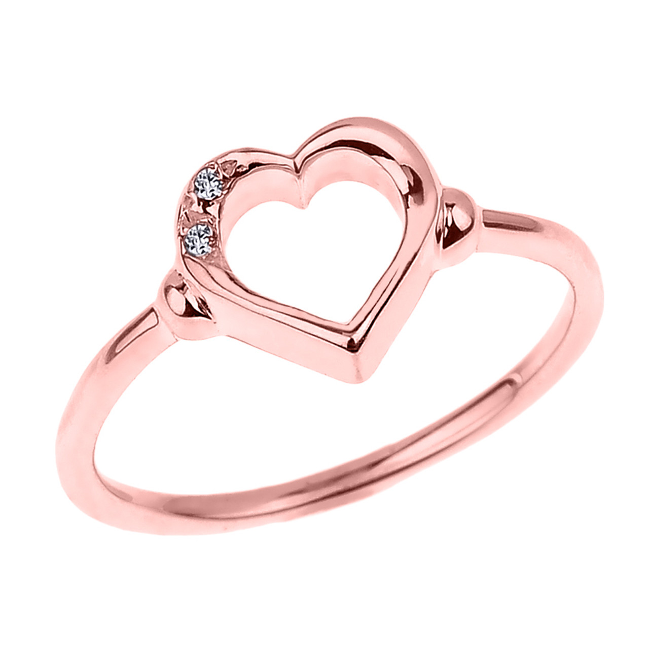 Dainty Rose Gold Open Heart Diamond Ring