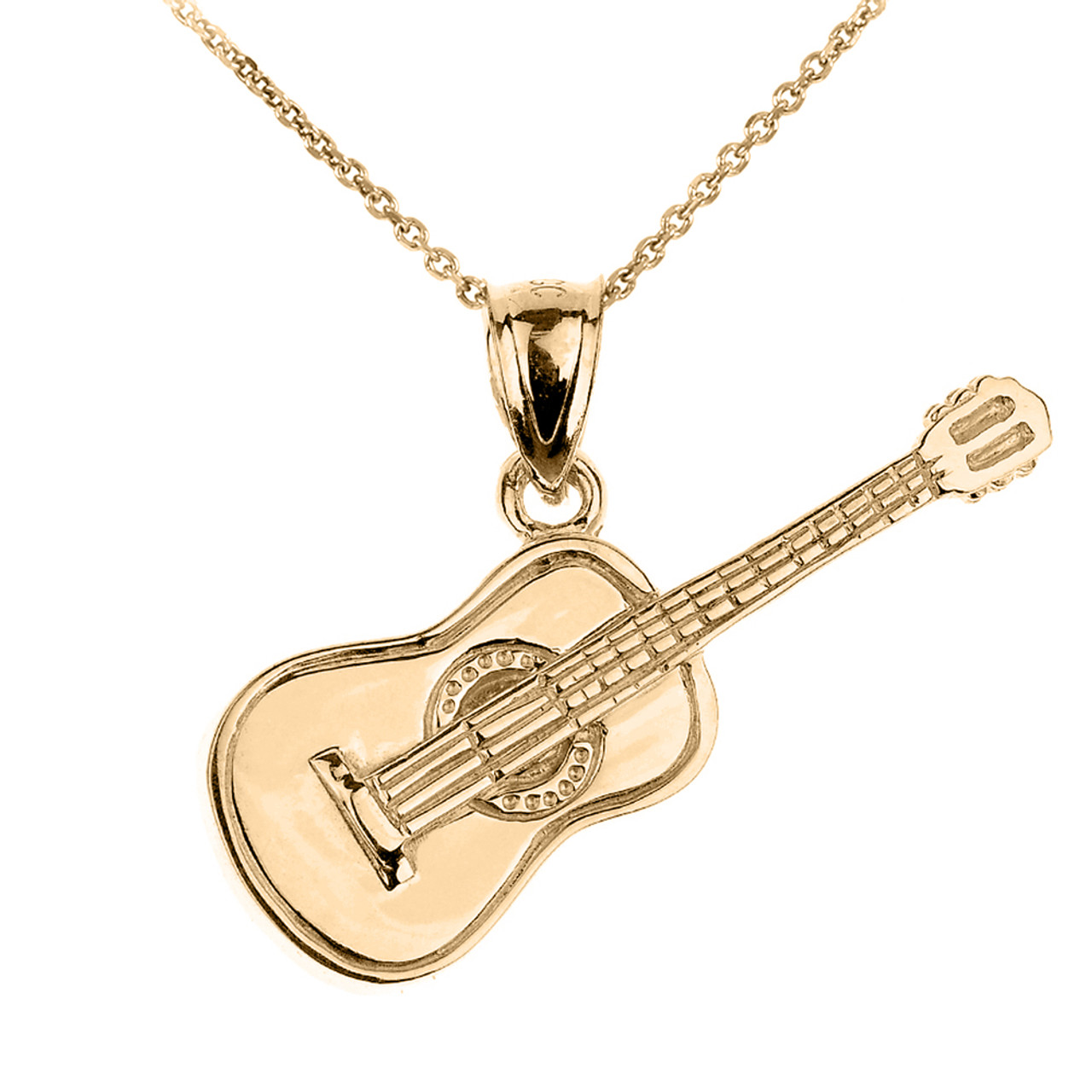ebay set solid itm pendant necklace gold gift chain jewellery boxed s uk guitar