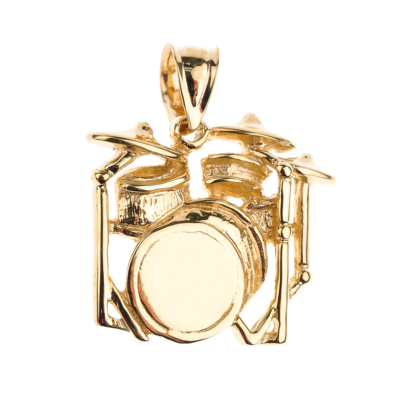 3d drum set pendant necklace gold drums and percussion instruments gold drum set pendant necklace aloadofball Gallery