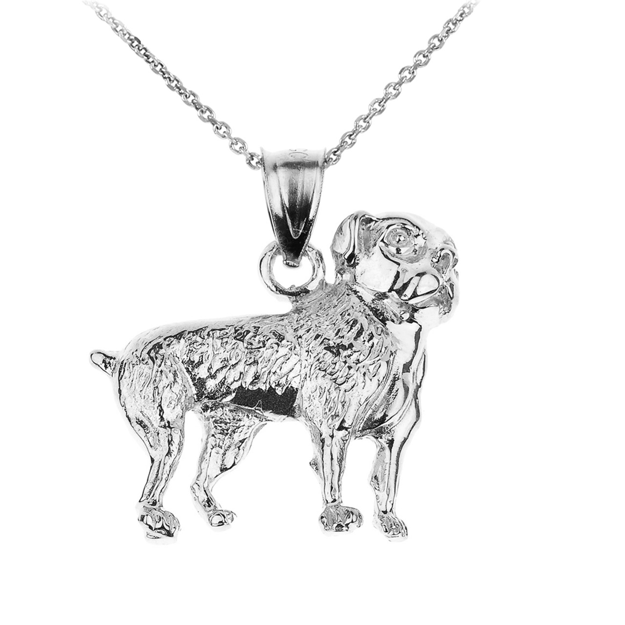 silver dog pendant charm three necklace yorkie dimensional sterling animal