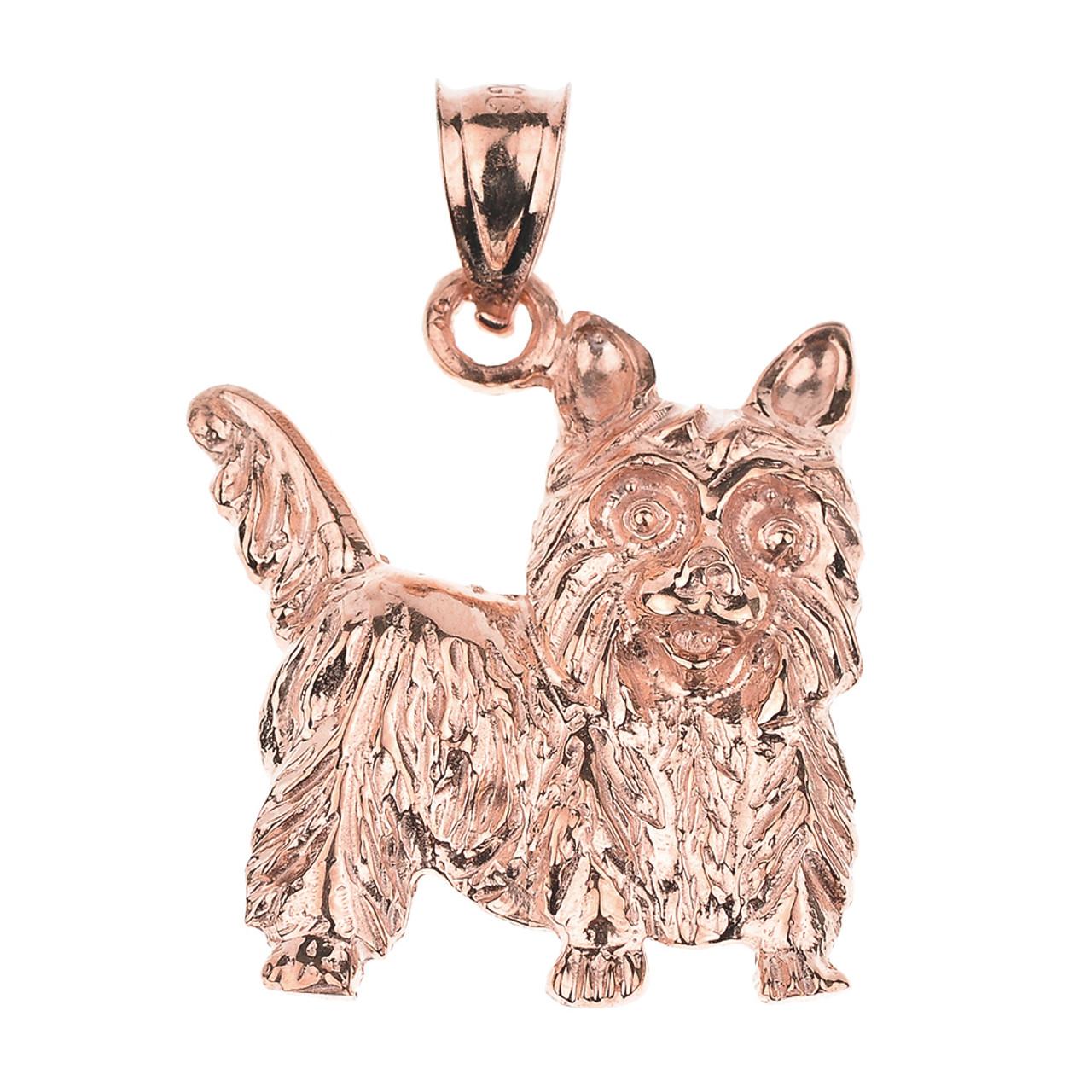 Rose gold yorkie dog charm pendant necklace gold yorkshire terrier rose gold yorkie dog charm pendant necklace aloadofball Choice Image