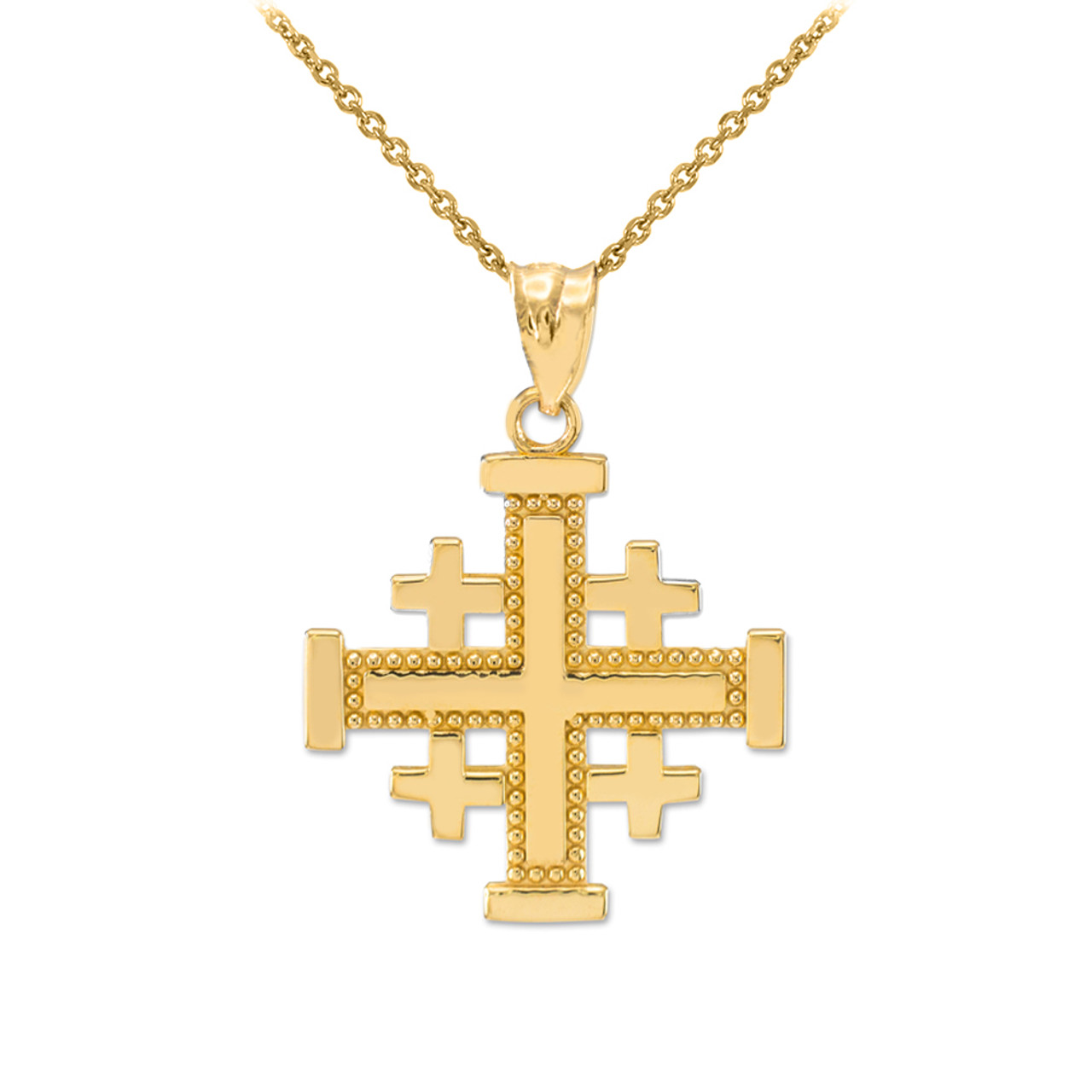 Yellow gold jerusalem cross pendant necklace aloadofball Images