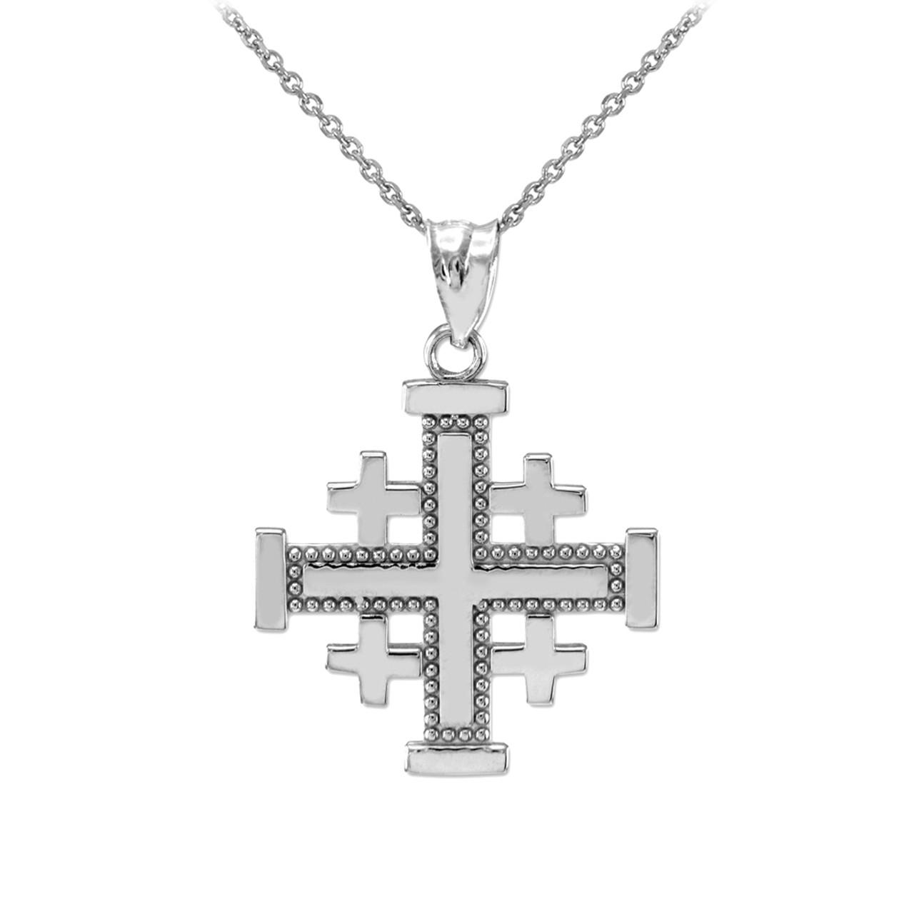 White gold jerusalem cross pendant necklace aloadofball Choice Image
