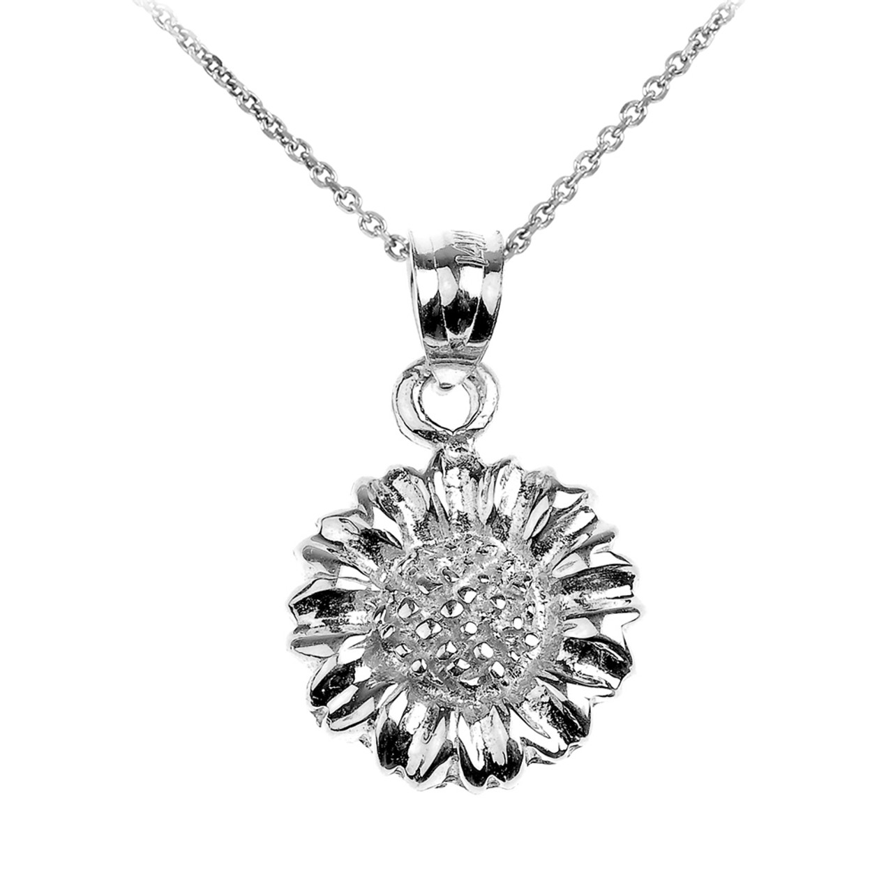 Silver sunflower charm pendant necklace sterling silver sunflower charm pendant necklace aloadofball Gallery