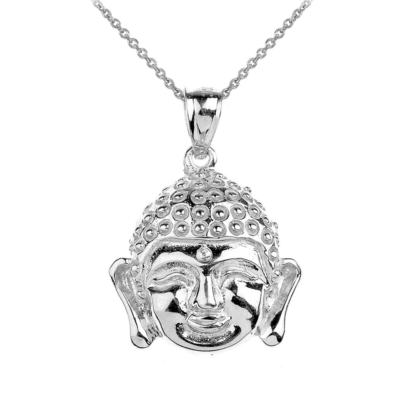 White gold buddha head pendant necklace aloadofball Images