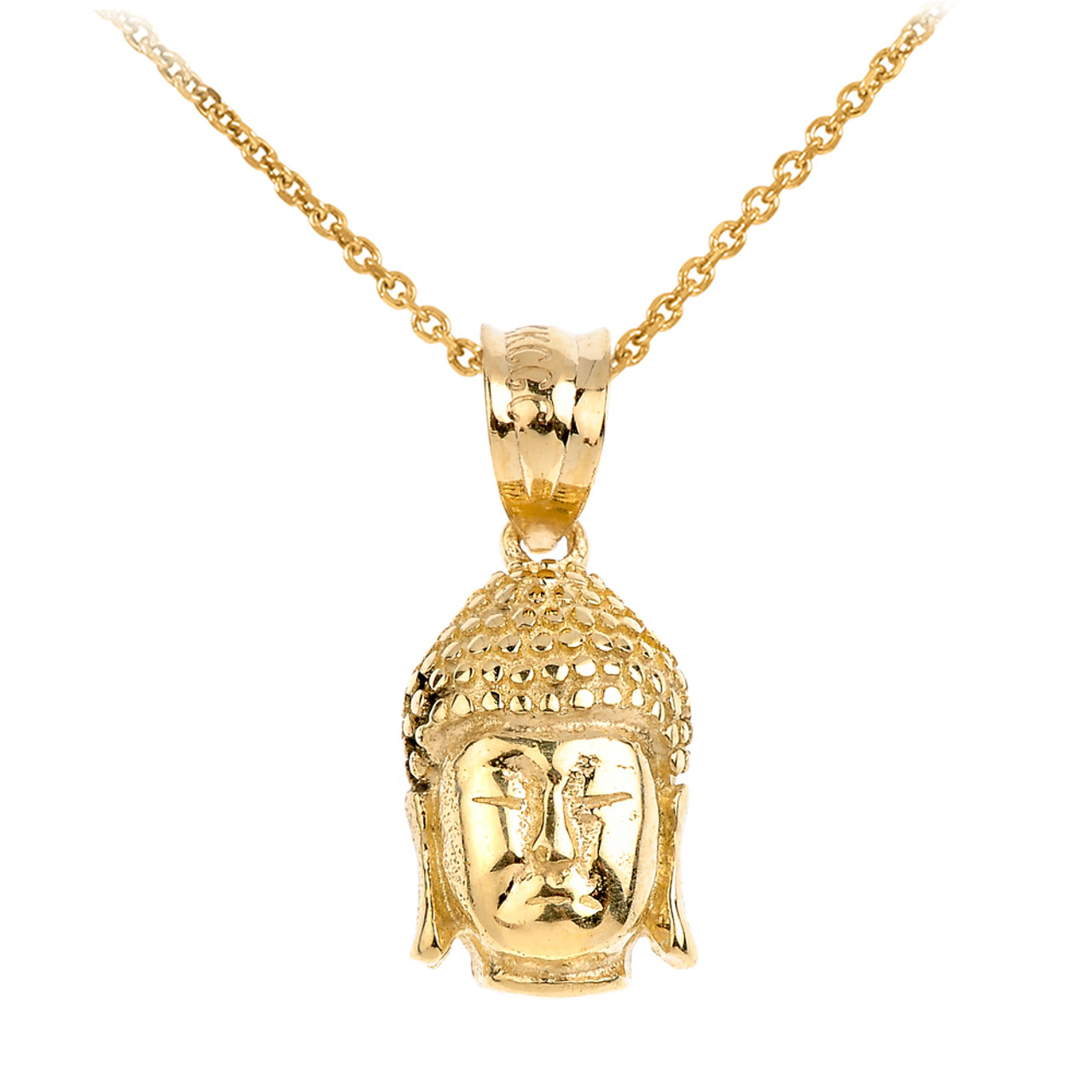 Yellow gold buddha head pendant 10kt buddha head charm pendant buddha head pendant necklace in yellow gold mozeypictures Images
