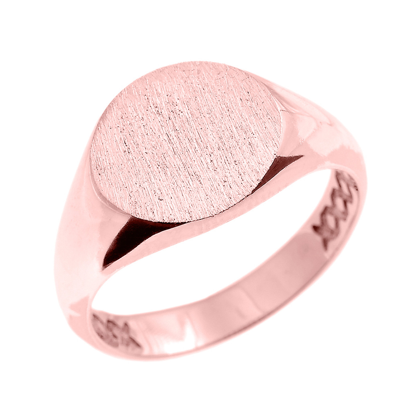 Solid Rose Gold 12 MM Round Engravable Men\'s Signet Ring