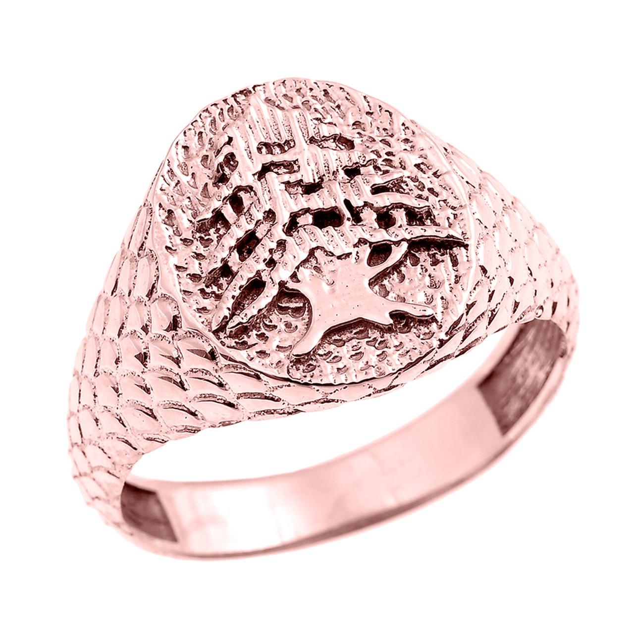 Rose Gold Textured Band Lebanese Cedar Tree Men\'s Ring