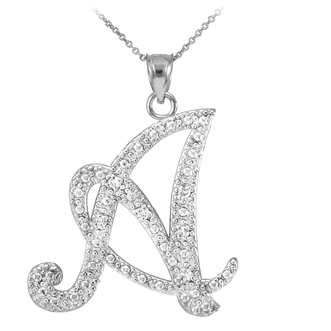 14k white gold cursive a initial diamond pendant necklace 14k white gold letter script a diamond initial pendant necklace mozeypictures Image collections