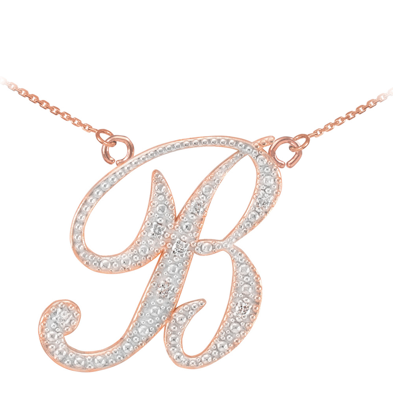 14k rose gold cursive b initial diamond necklace 14k rose gold letter script b diamond initial necklace aloadofball