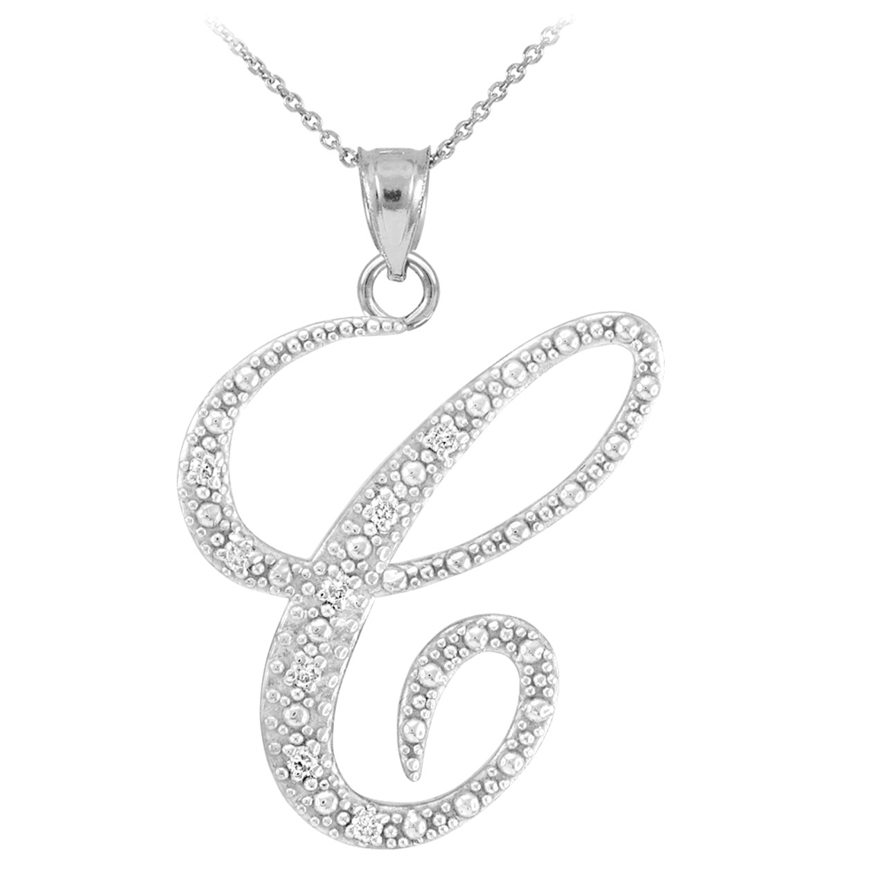 14k white gold letter script c diamond initial pendant necklace mozeypictures Image collections