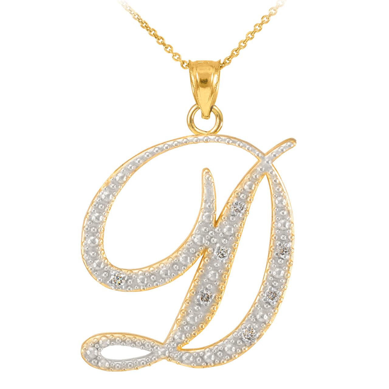 14k gold letter script d diamond initial pendant necklace aloadofball Gallery