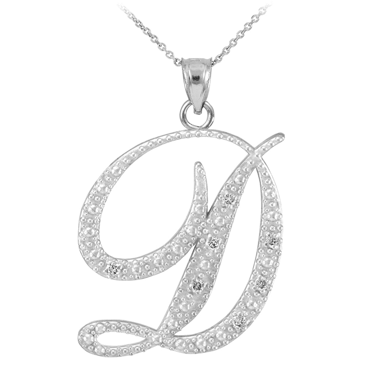14k white gold letter script d diamond initial pendant necklace mozeypictures Image collections