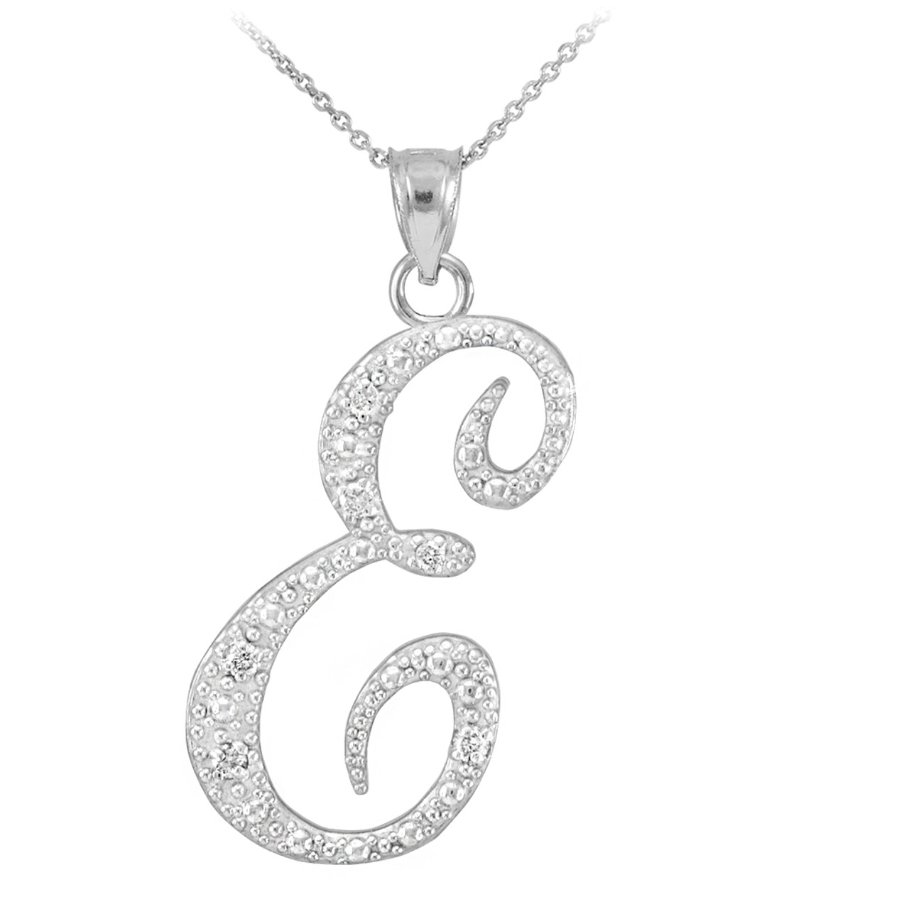 14k white gold letter script e diamond initial pendant necklace mozeypictures Image collections