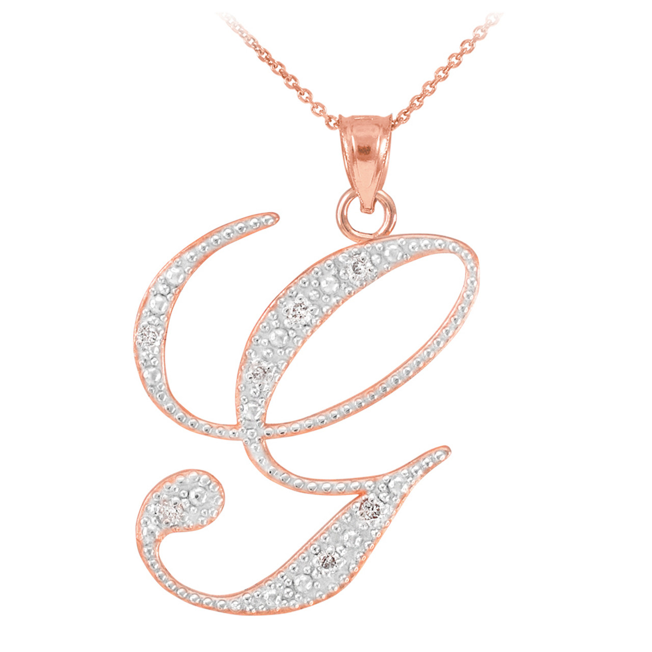 14k rose gold letter script g diamond initial pendant necklace aloadofball Images