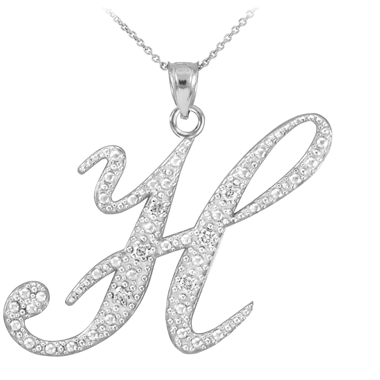 14k white gold letter script h diamond initial pendant necklace aloadofball Image collections
