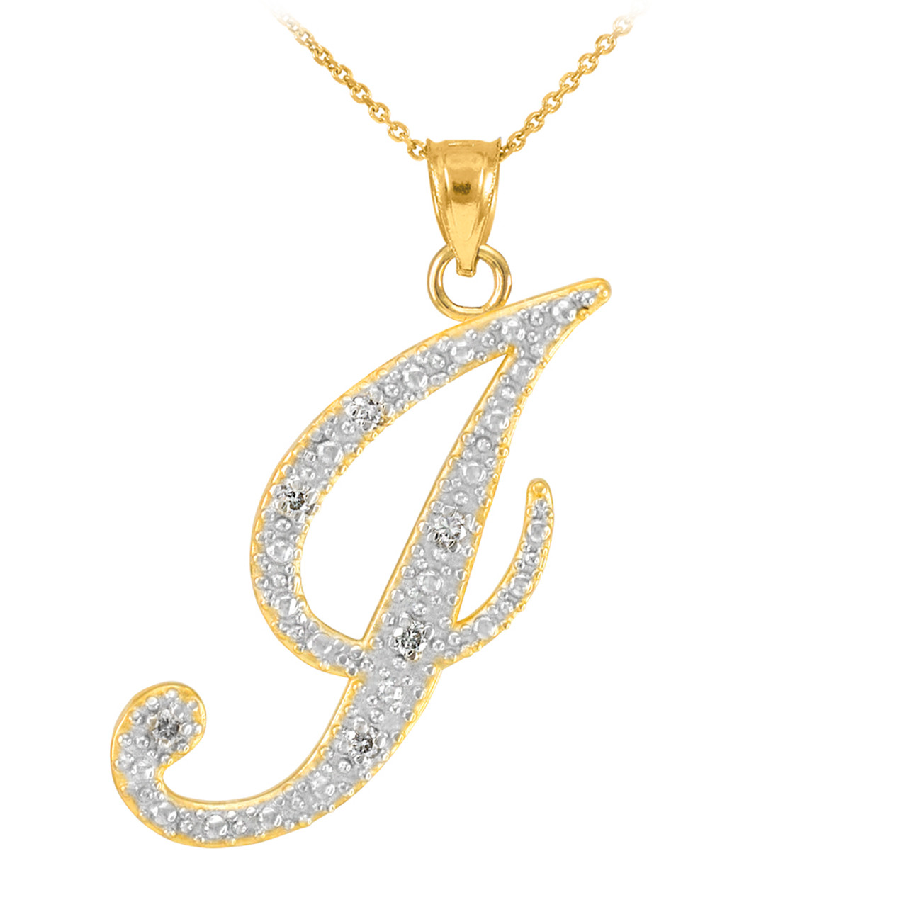 14k gold letter script j diamond initial pendant necklace aloadofball Image collections