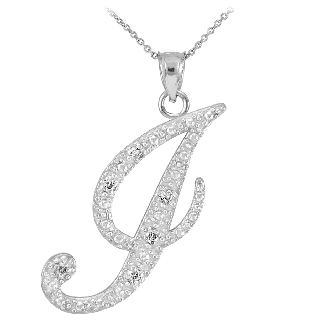 White gold letter script j diamond initial pendant necklace 14k white gold letter script j diamond initial pendant necklace mozeypictures Image collections