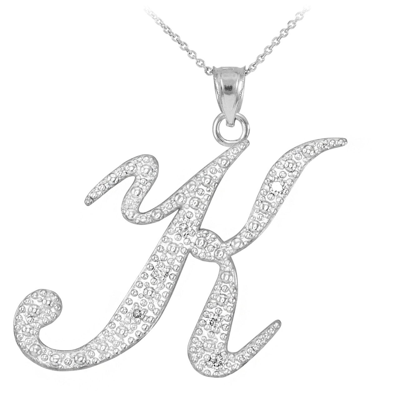 14k white gold letter script k diamond initial pendant necklace mozeypictures Image collections