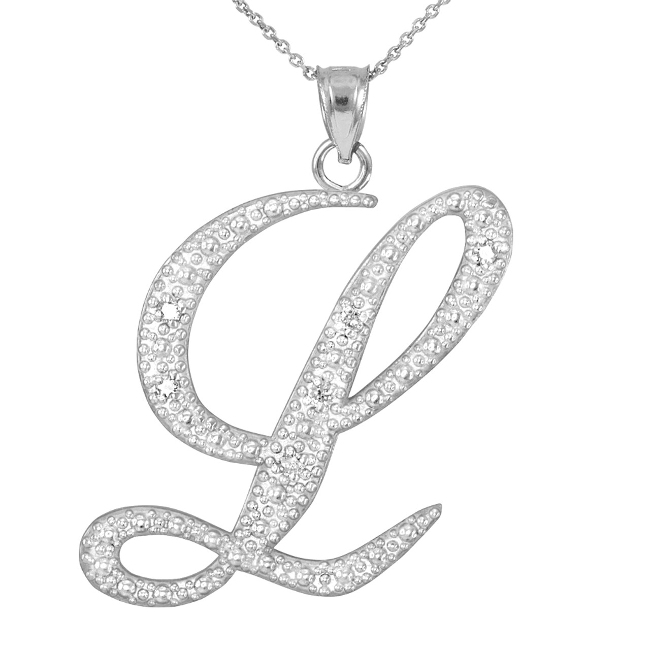 14k white gold letter script l diamond initial pendant necklace mozeypictures Image collections