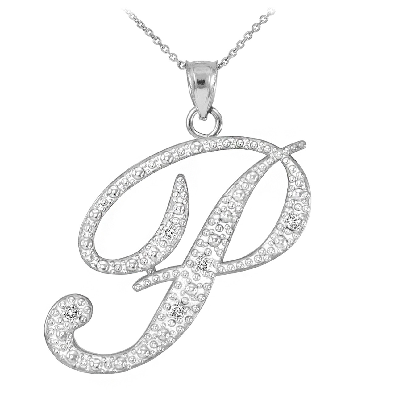 14k white gold letter script p diamond initial pendant necklace mozeypictures Image collections