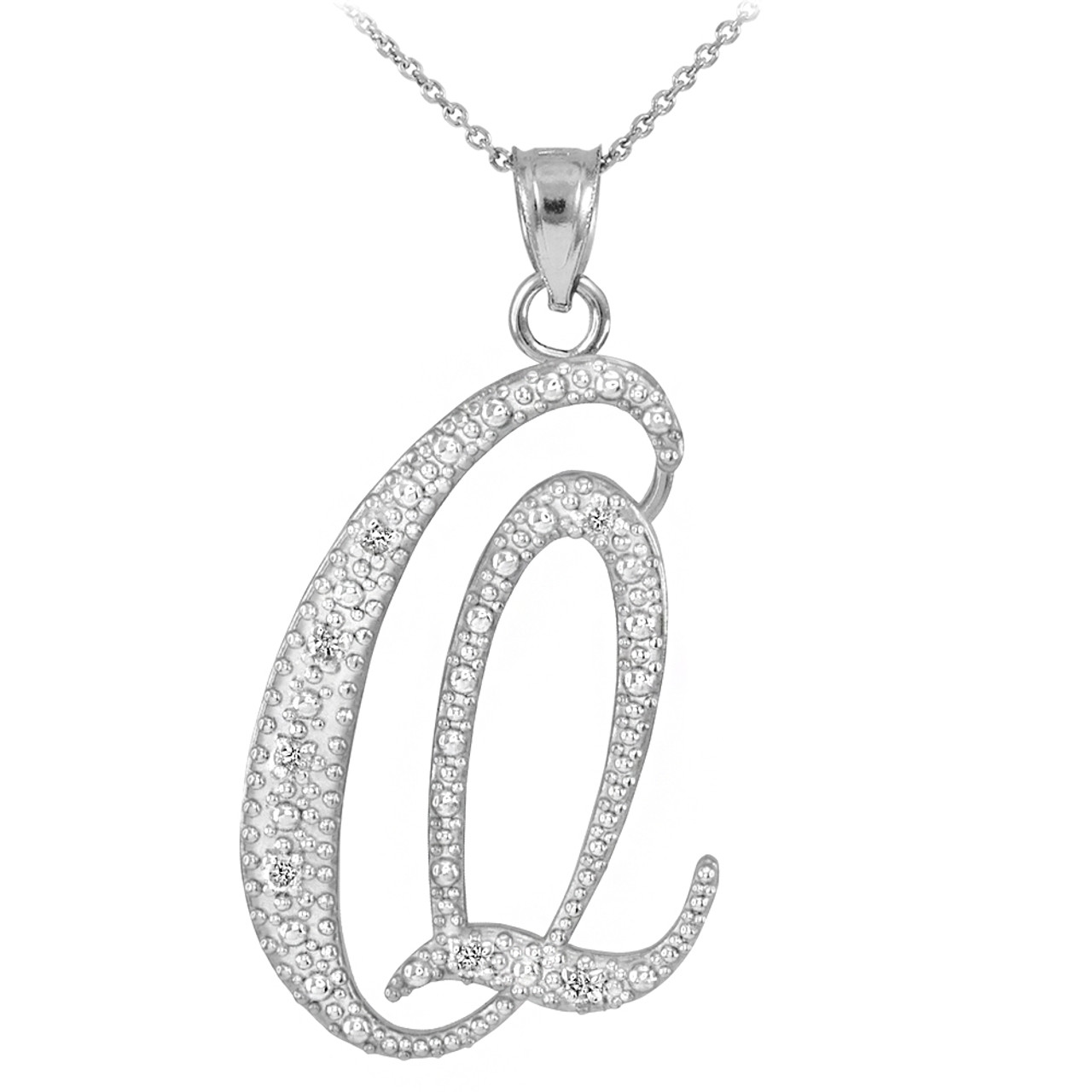 White gold letter script q diamond initial pendant necklace 14k white gold letter script q diamond initial pendant necklace mozeypictures Image collections