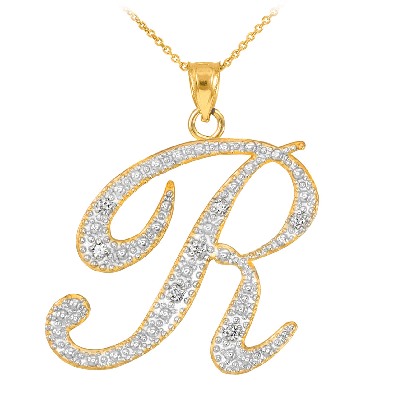 14k gold letter script r diamond initial pendant necklace aloadofball Image collections