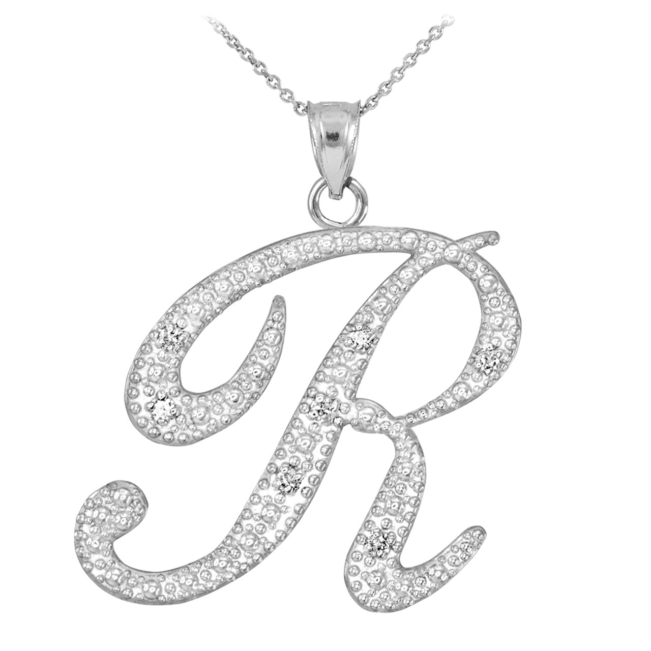 14k white gold letter script r diamond initial pendant necklace aloadofball Gallery