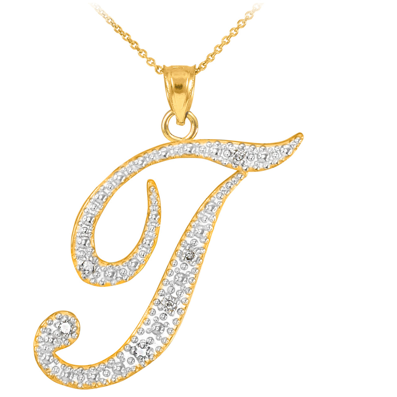 necklace rose gold t diamond initial pendant letter