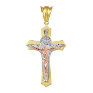 Three-Tone Gold Holy Trinity Crucifix Pendant Midsize
