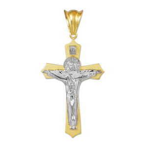Two-Tone White Gold Holy Trinity Crucifix Pendant Midsize