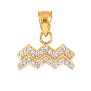 14k Gold Aquarius Zodiac Sign Diamond Pendant Necklace
