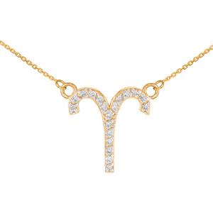 14K Gold Aries Zodiac Sign Diamond Necklace