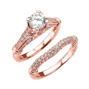 Rose Gold Art Deco Engagement Wedding Ring Set