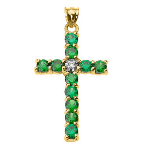 10k Yellow Gold Diamond and Green CZ Cross Pendant Necklace