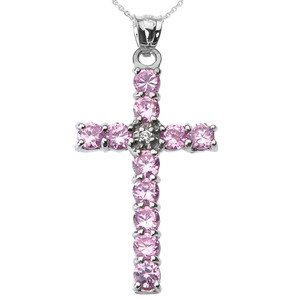 10k White Gold Diamond and Pink CZ Cross Pendant Necklace