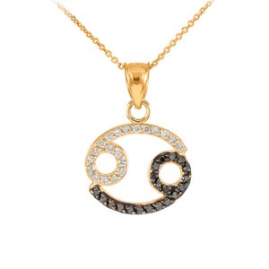 14K Gold Cancer Zodiac Sign Black Diamond Pendant Necklace