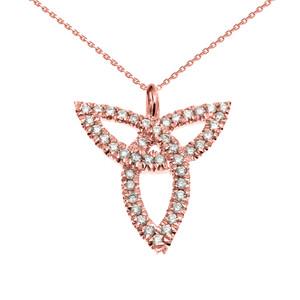 Rose Gold Celtic Trinity Diamond Pendant Necklace